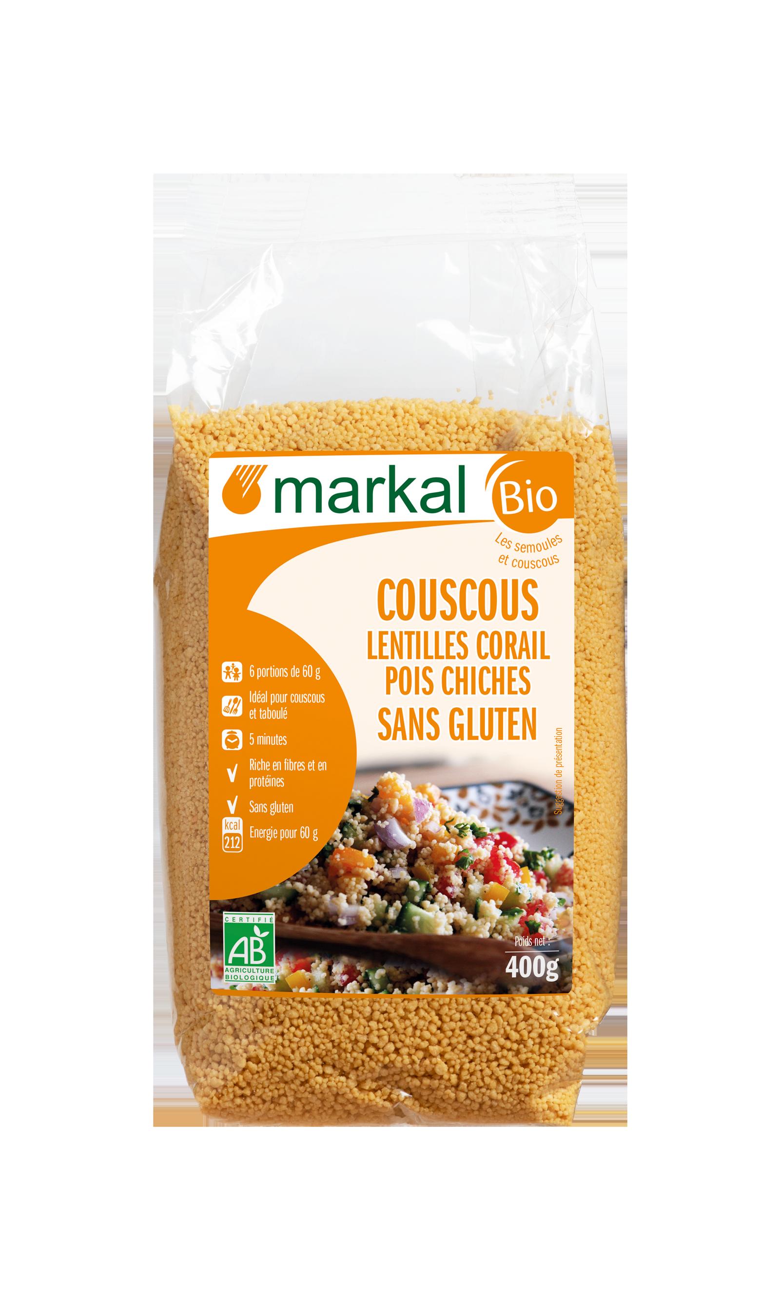 Couscous lentilles corail - pois chiches - sans gluten