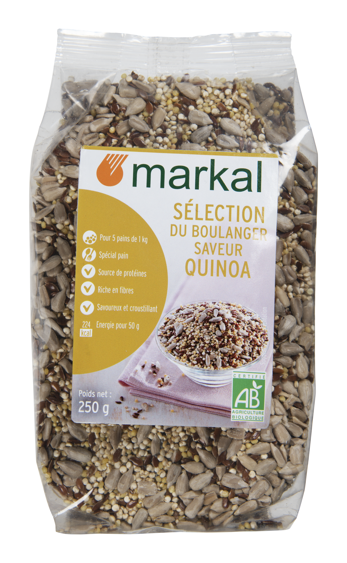 Sélection du boulanger - quinoa Quinoa, lin brun, millet décortiqué, tournesol décortiqué, pavot.