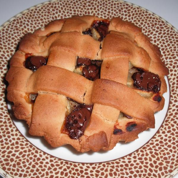 Tartelette pomme sur lit de compote de poire