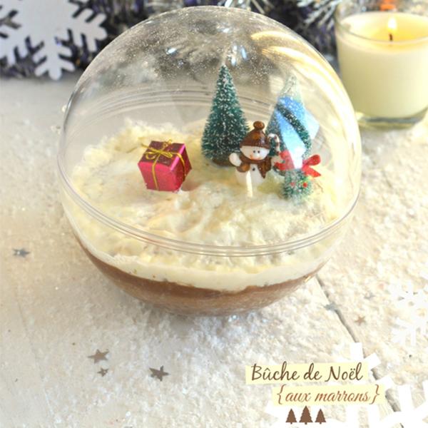 Bûche de Noël aux marrons en boule