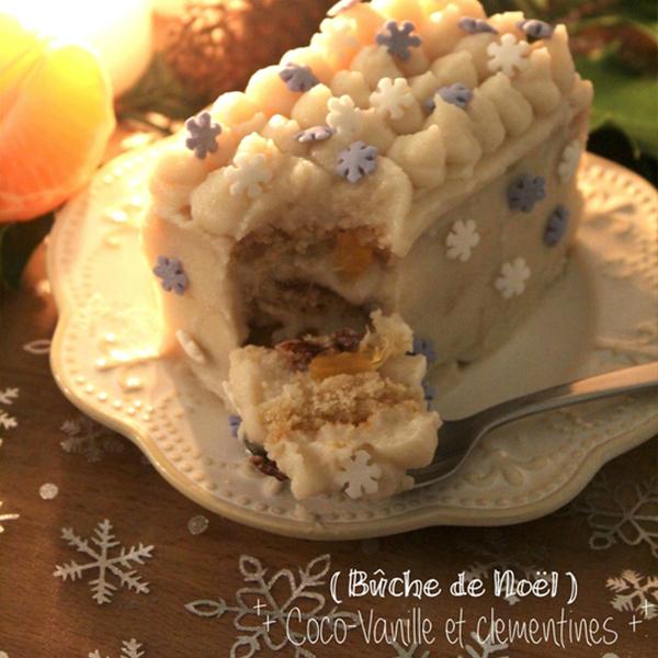 Bûchette coco-vanille à la clémentine