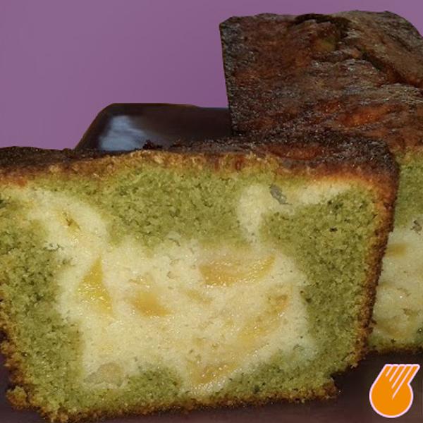 Cake marbré aux pommes et thé matcha sans gluten