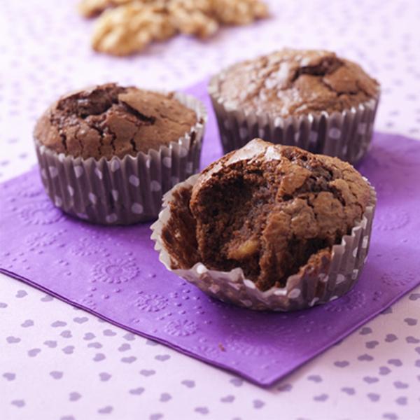Muffins fondants aux noix et chocolat noir