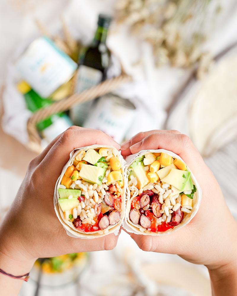 Burritos aux Haricots Rouges, Maïs et Avocat