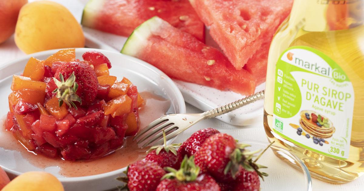 Tartare de fruits à la fraise, pastèque et abricot