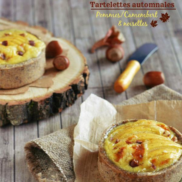 Tartelette pomme, camembert et noisette