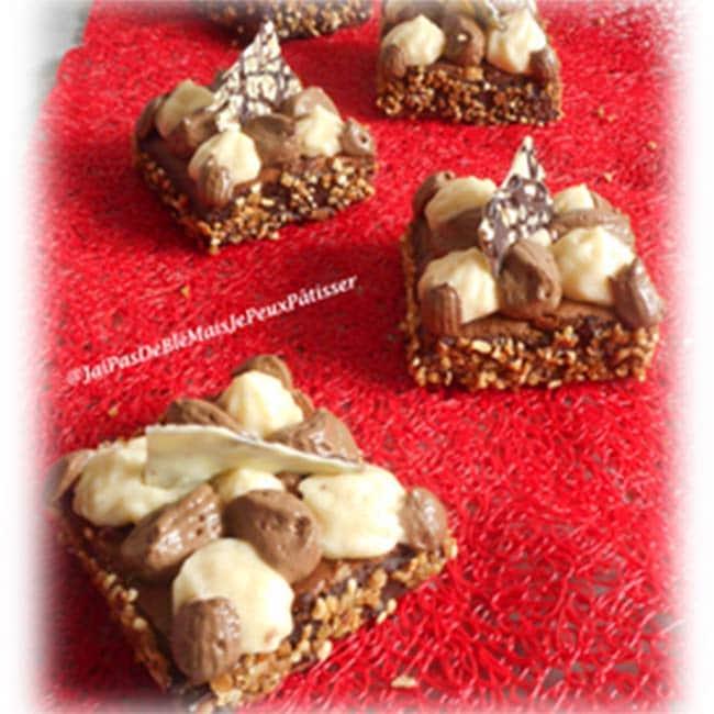 Brownies noix de pécan, mousse chocolat et mousse poire