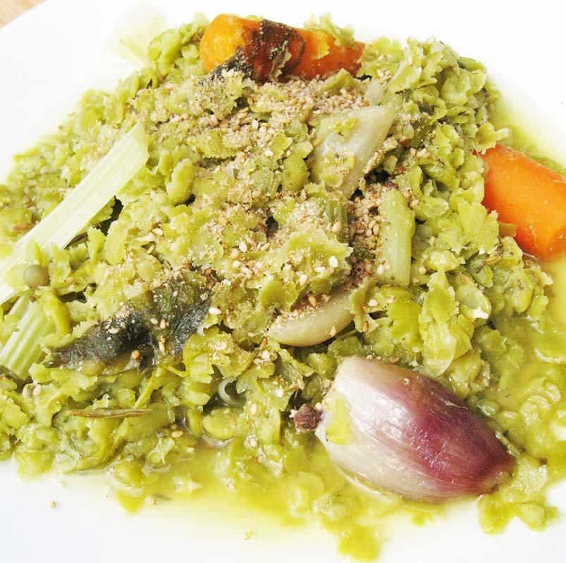 Compotée de pois-cassés et ses légumes à la badiane