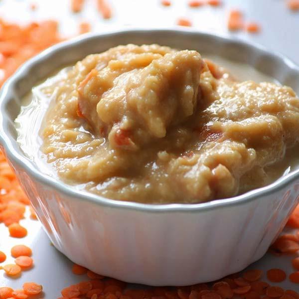 Houmous de lentilles corail au piment d'Espelette et aux tomates séchées