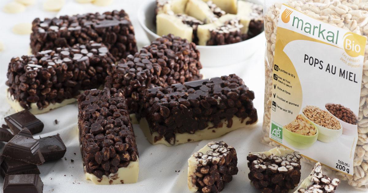 Barres de Pops au blé soufflé chocolat blanc et noir