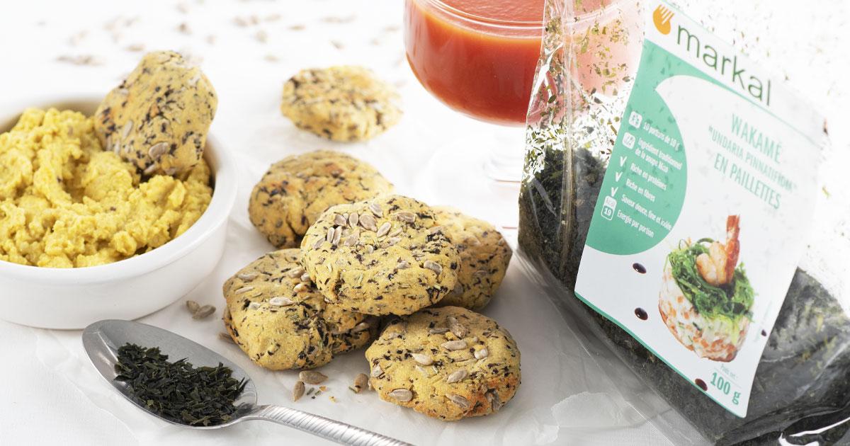 Cookies apéritif wakamé et graines de tournesol