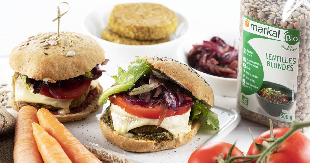 Burger végétarien avec sa galette aux légumes