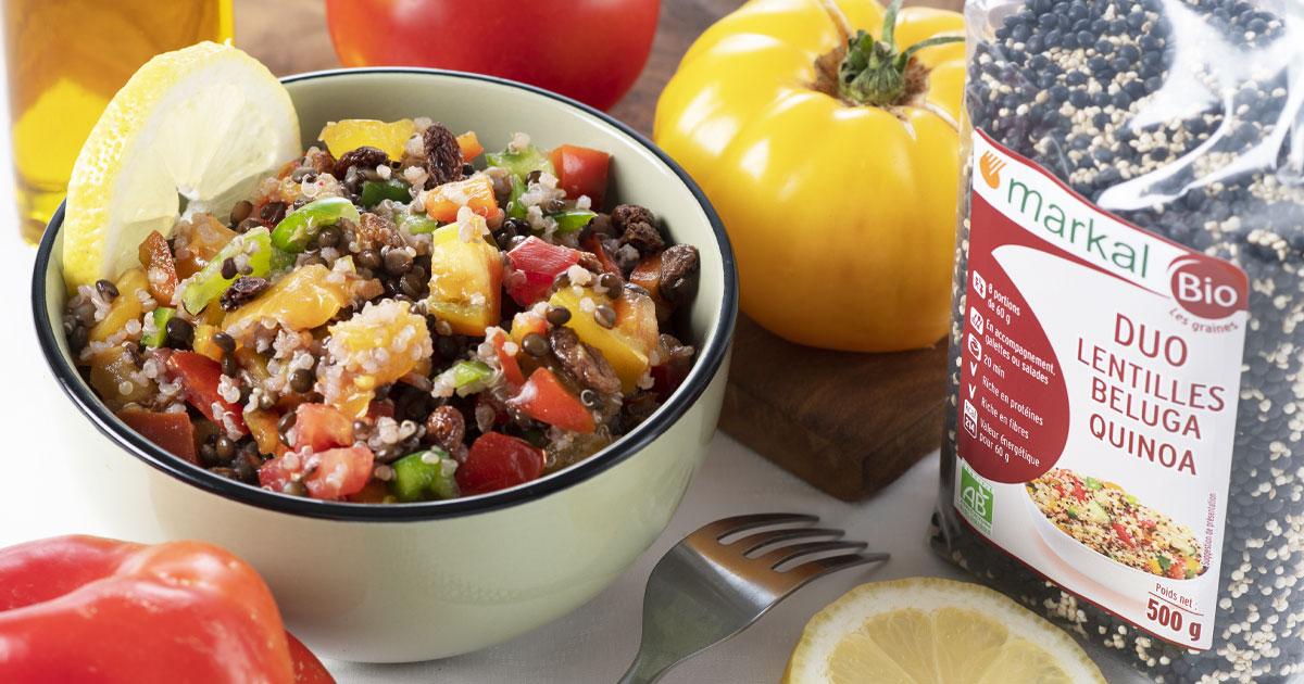Taboulé de quinoa, lentilles et poivrons