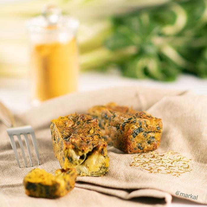 Cake de blettes et lentilles corail au curry au Vitaliseur de Marion