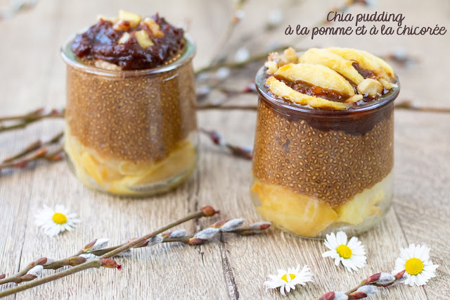 Chia pudding à la pomme et chicorée, coulis de datte