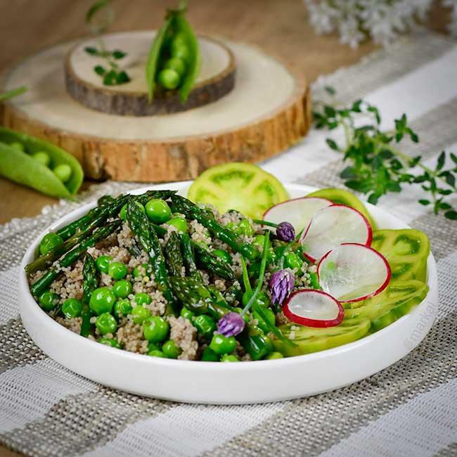 Poêlée de printemps couscous quinoa épeautre