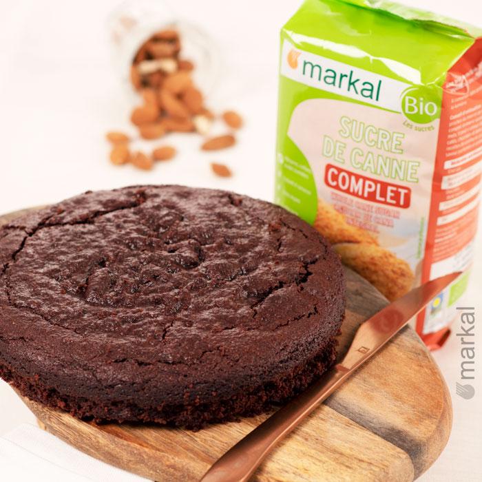 Gâteau chocolat et compote de pommes sans farine