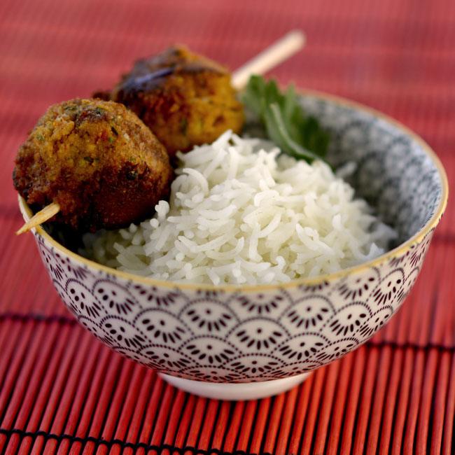 Boulettes de saumon, risotto de duo de quinoa
