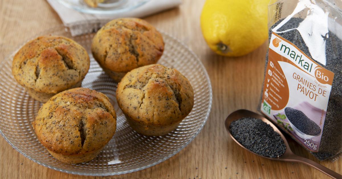Muffins citron pavot, coeur lemon curd