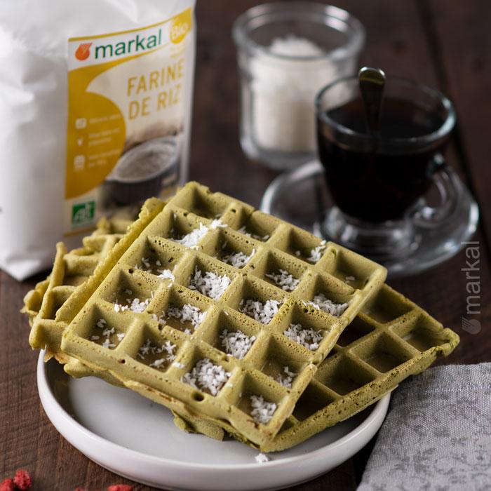 Gaufres vegan au thé matcha sans gluten