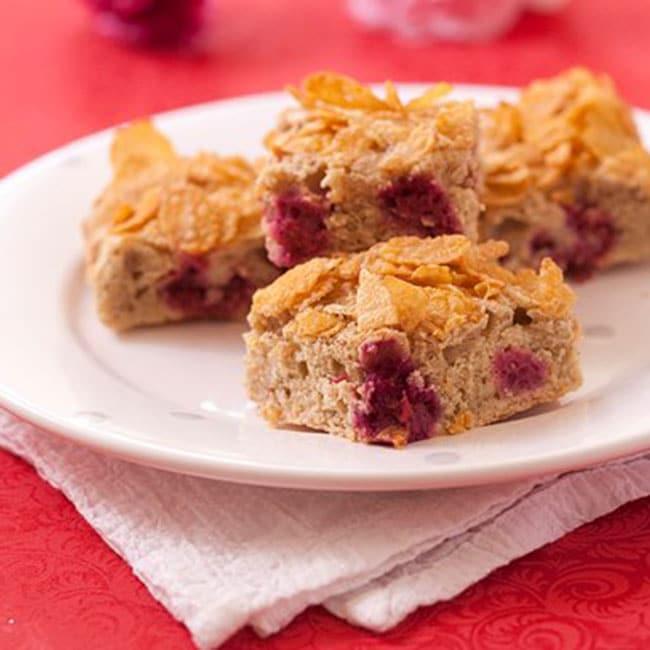 Gâteau aux framboises et corn flakes