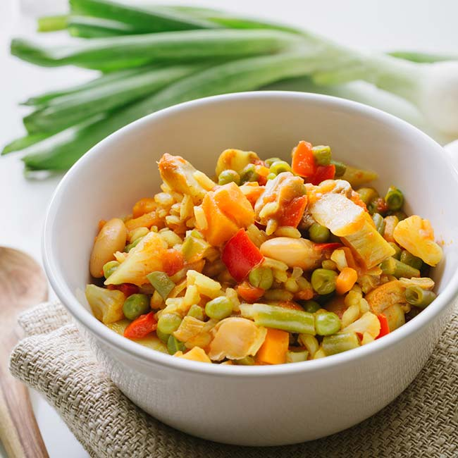 Paella au boulgour et aux légumes
