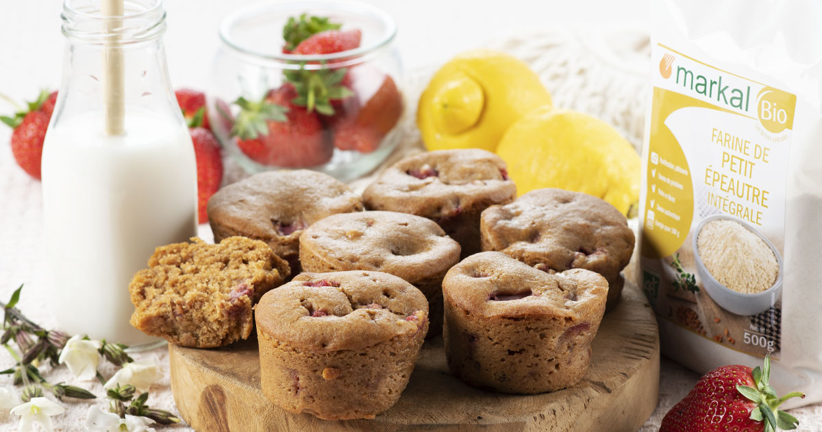 Muffin vegan fraise & citron