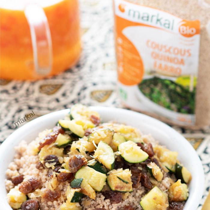 Couscous quinoa-farro aux courgettes et fenouil