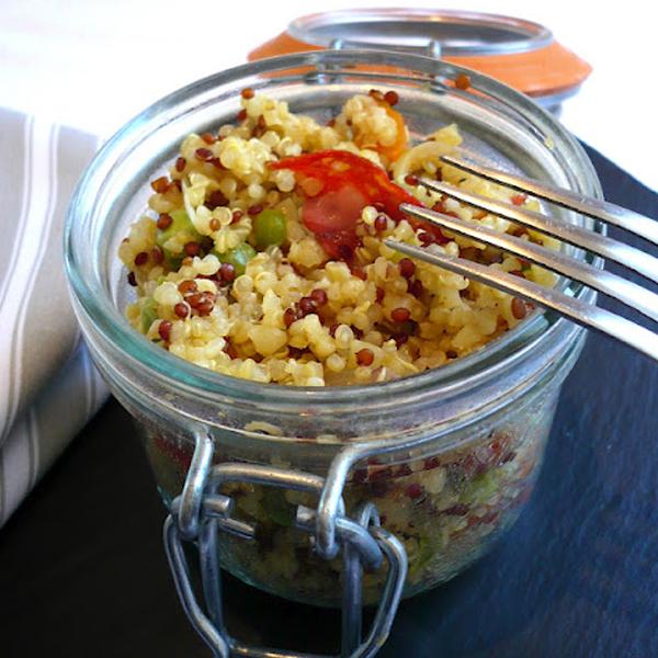 Boulgour quinoa aux petits pois et chorizo