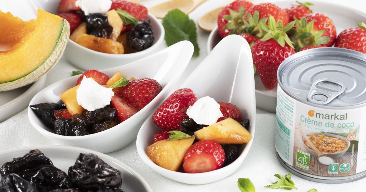 Salade de fruits et crème fouettée