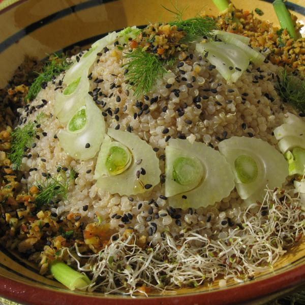 Taboulé de quinoa au fenouil et carottes nouvelles, sauce sésame citron
