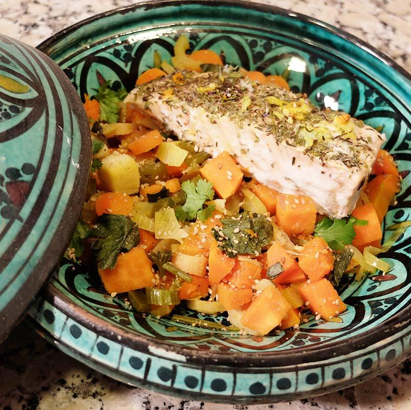 Tajine de légumes d'hiver au saumon