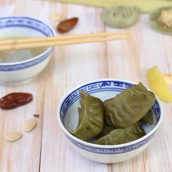 Raviolis chinois au thé matcha et pommes