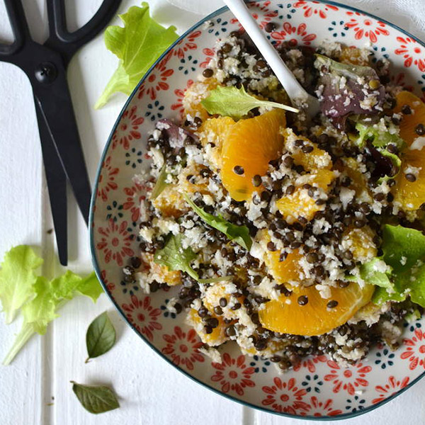 Salade de lentilles noires Beluga, chou-fleur et orange { Mi-cru, mi-cuit }