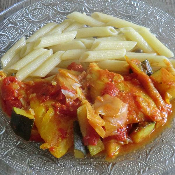 Morue à la tomate et aux penne sans gluten