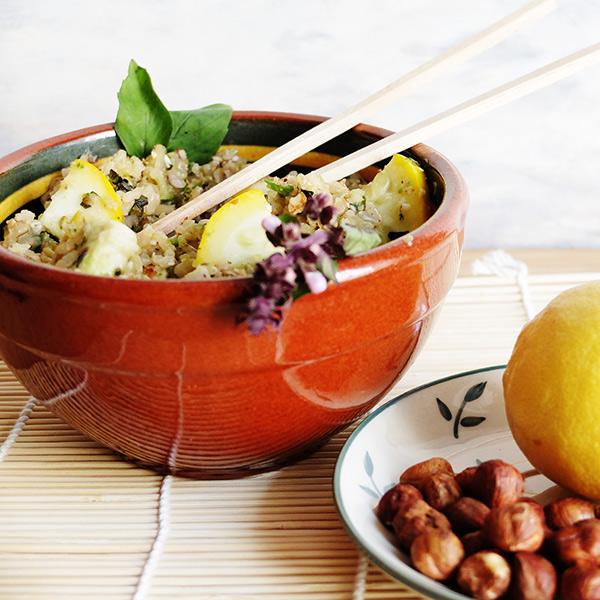 Risotto citronné aux courgettes, noisettes et gingembre