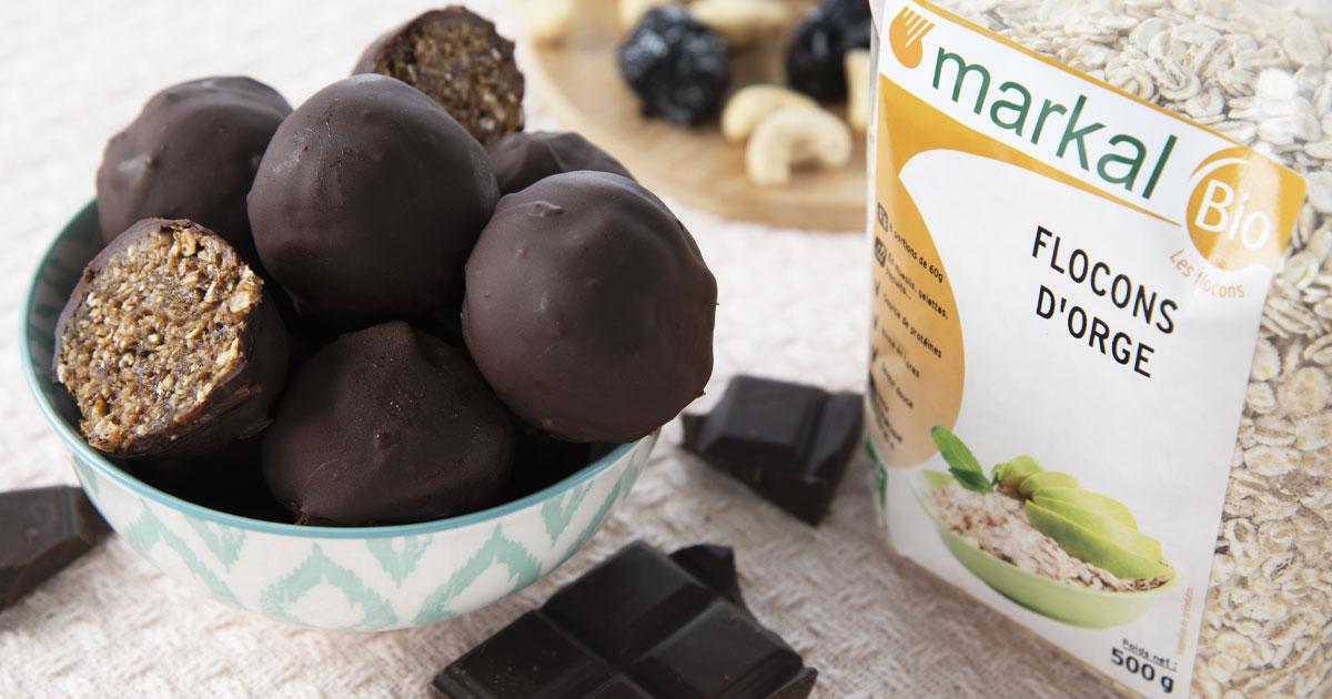 Energy balls coque en chocolat